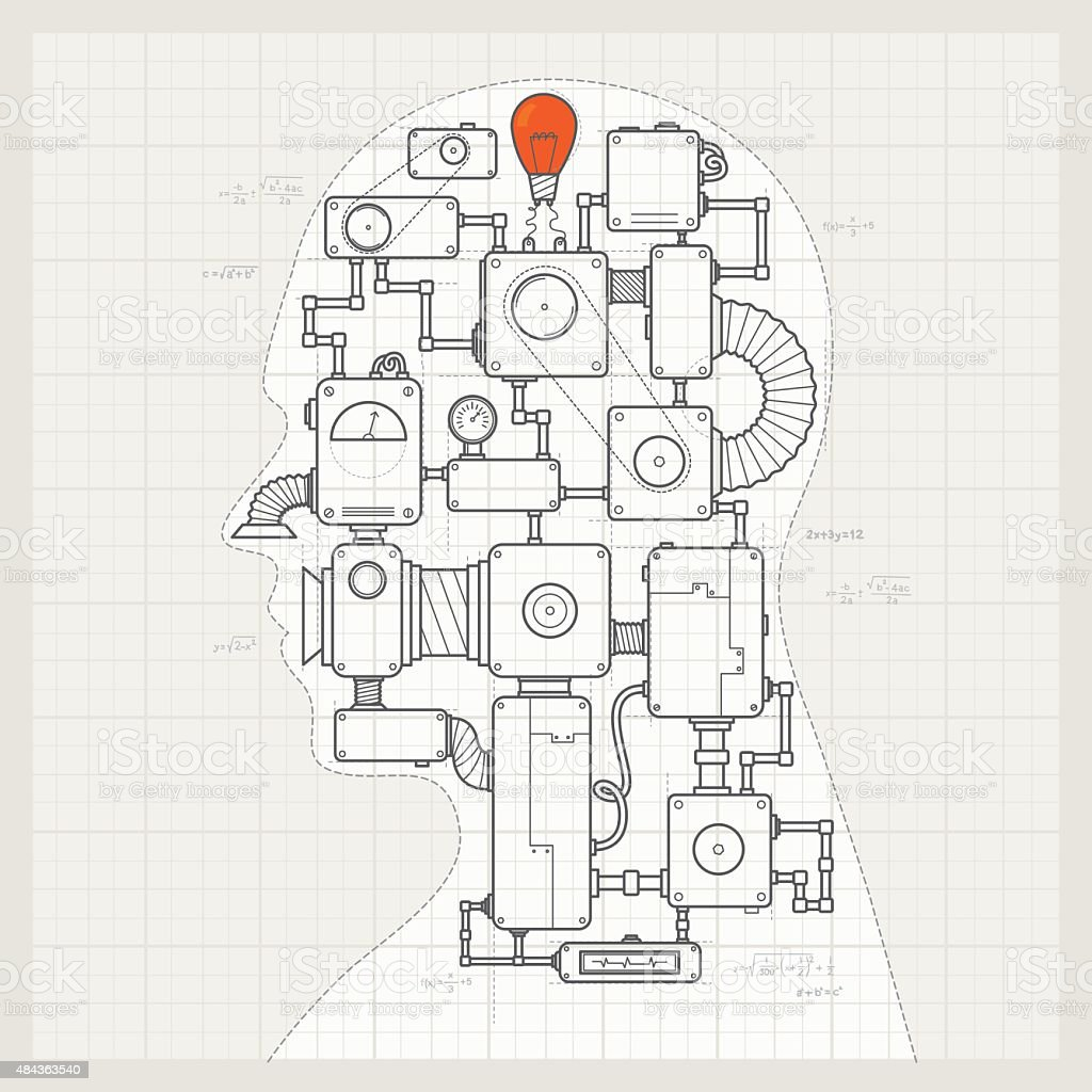 Blueprint of a artifical intelligence machine vector art illustration