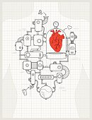 Blueprint of a detailed heart machine project. All design elements are layered and grouped.