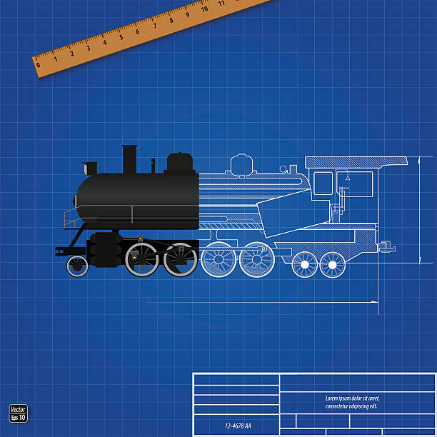 Royalty free train blueprint clip art vector images illustrations blueprint of a steam locomotive sectional drawing vector art illustration malvernweather Gallery