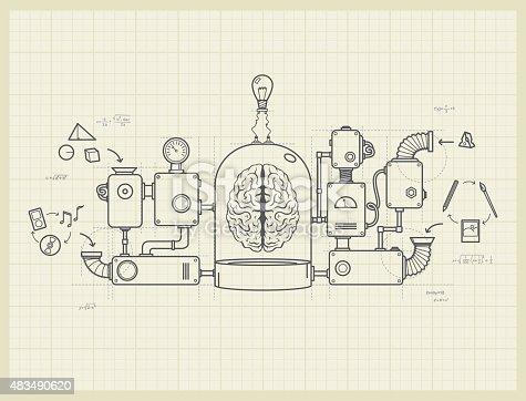 istock Blueprint of an idea machine project 483490620
