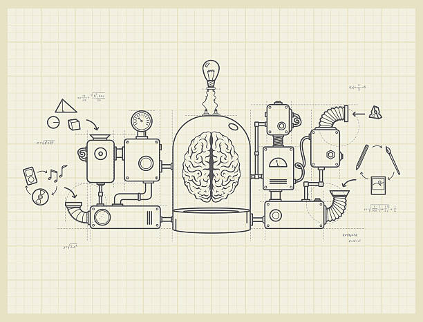 Blueprint of an idea machine project vector art illustration