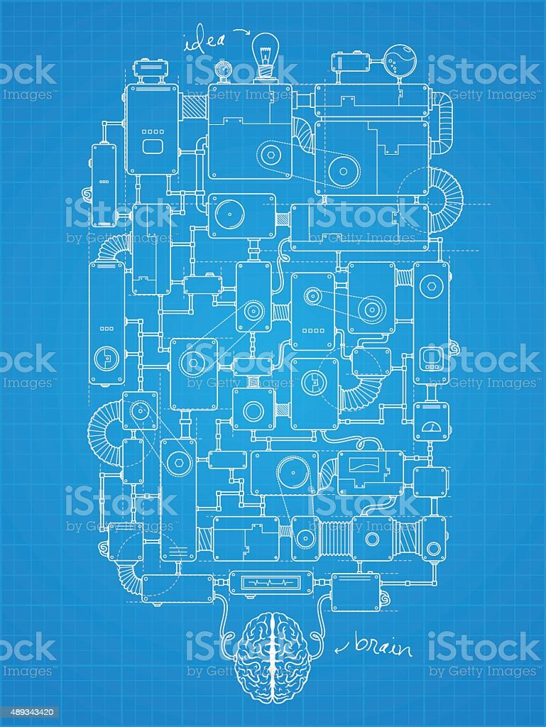 Blueprint of big idea machine vector art illustration