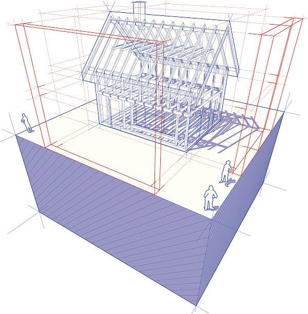 technische zeichnung des rahmen-haus mit abmessungen diagramm - dachboden stock-grafiken, -clipart, -cartoons und -symbole