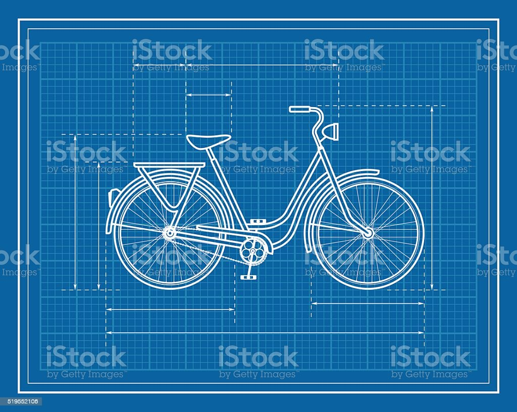 Blueprint of retro style bicycle stock vector art more images of blueprint of retro style bicycle royalty free blueprint of retro style bicycle stock vector art malvernweather Image collections
