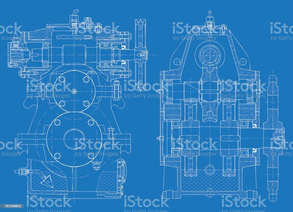 Bosquejo de la reducción de engranajes - ilustración de arte vectorial