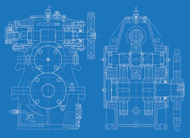 blueprint of the reducing gear - machine stock illustrations, clip art, cartoons, & icons