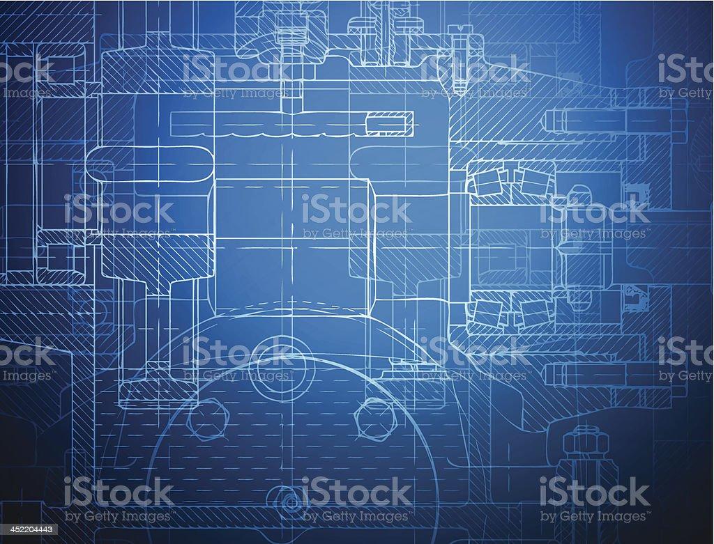 Blueprint of the reducing gear vector art illustration