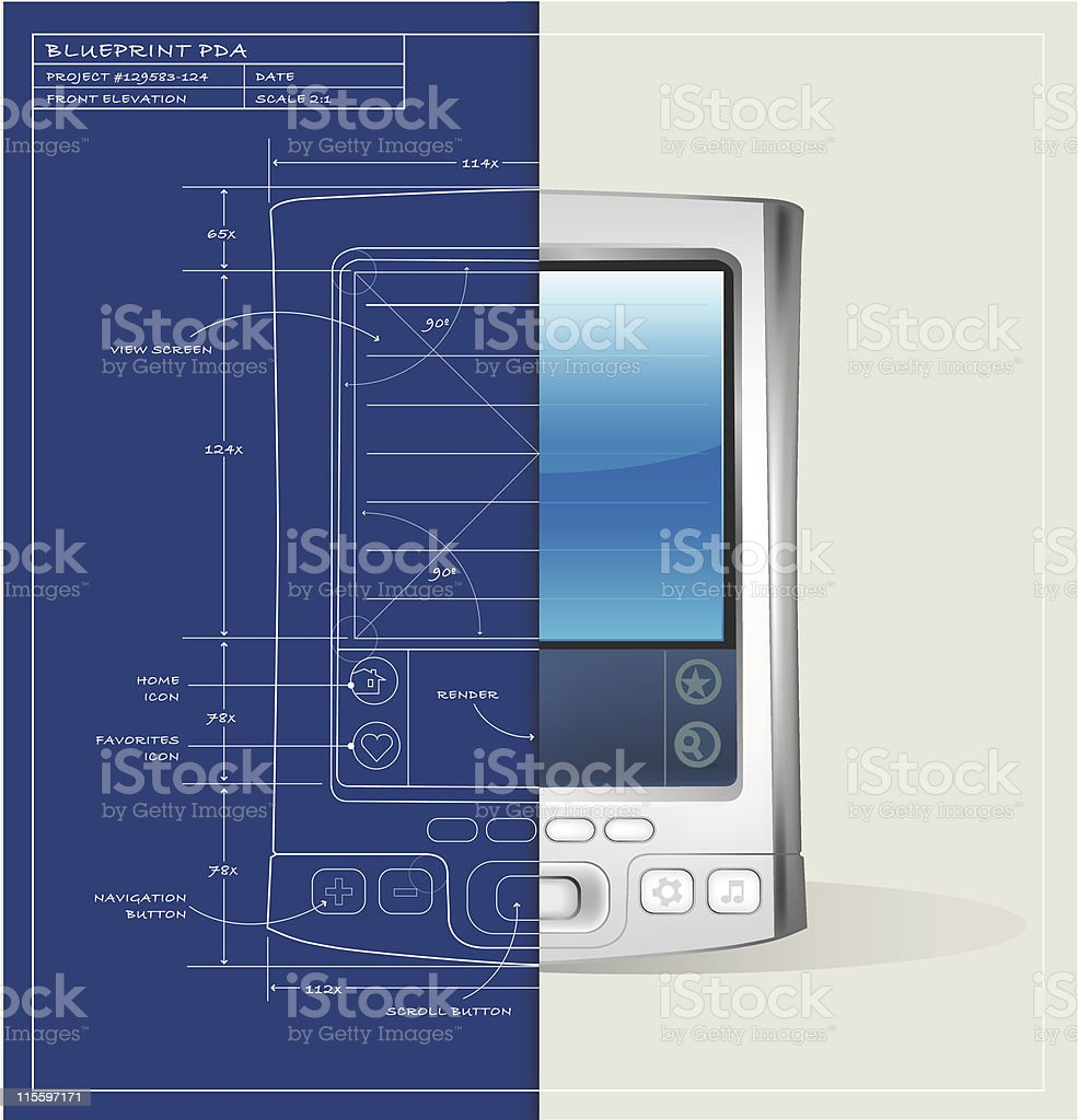 Blueprint PDA Device royalty-free stock vector art