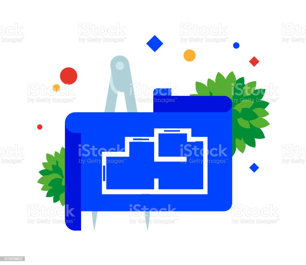 Blueprint plan iconic architectural plan of the apartment stock blueprint plan iconic architectural plan of the apartment royalty free blueprint plan iconic malvernweather Images