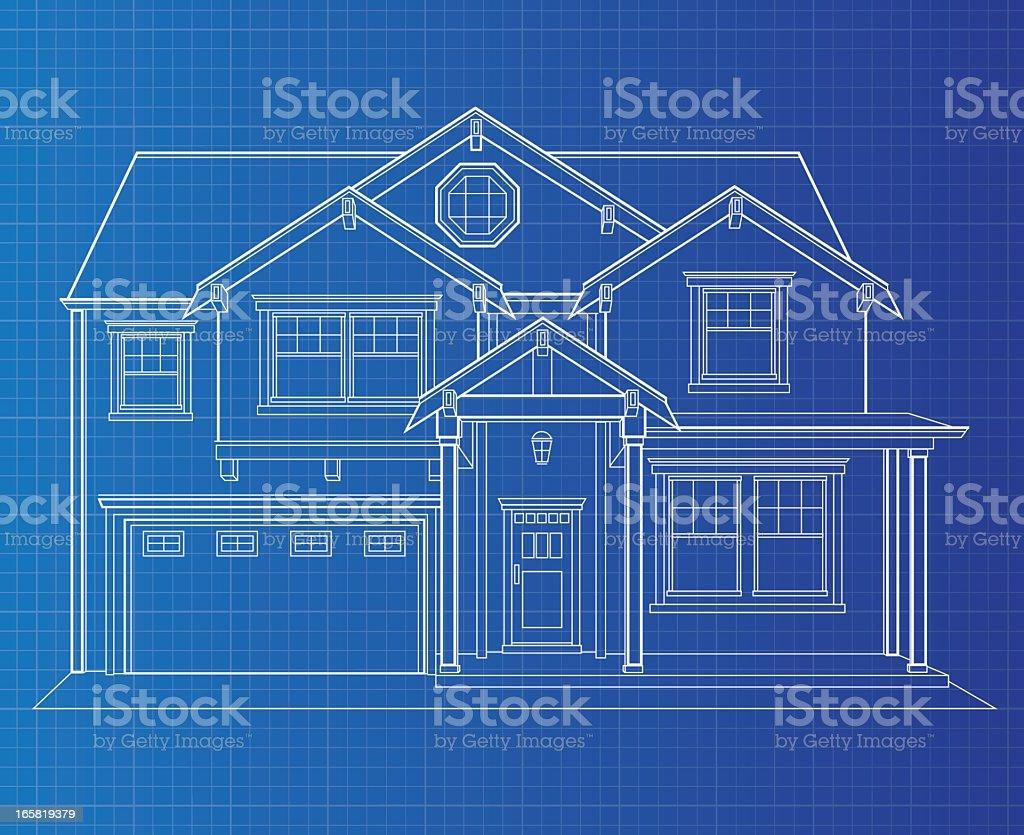 Blueprint Single Dwelling vector art illustration