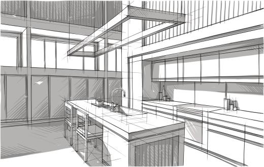 A blueprint sketch design of a modern kitchen