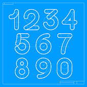 istock Blueprint sketch numbers set with construction lines. 1323453929
