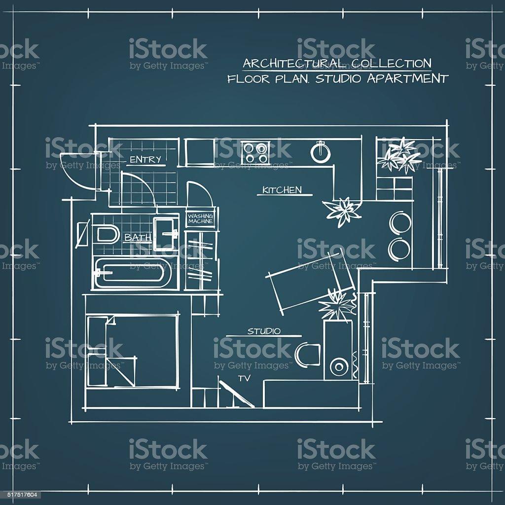 Blueprint studio apartment stock vector art more images of blueprint studio apartment royalty free blueprint studio apartment stock vector art amp more malvernweather Image collections