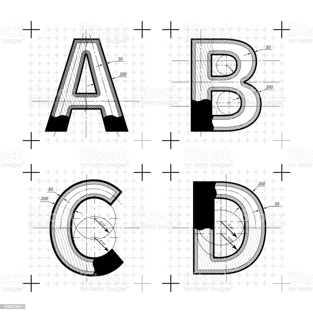 Blueprint style font on white vector art illustration