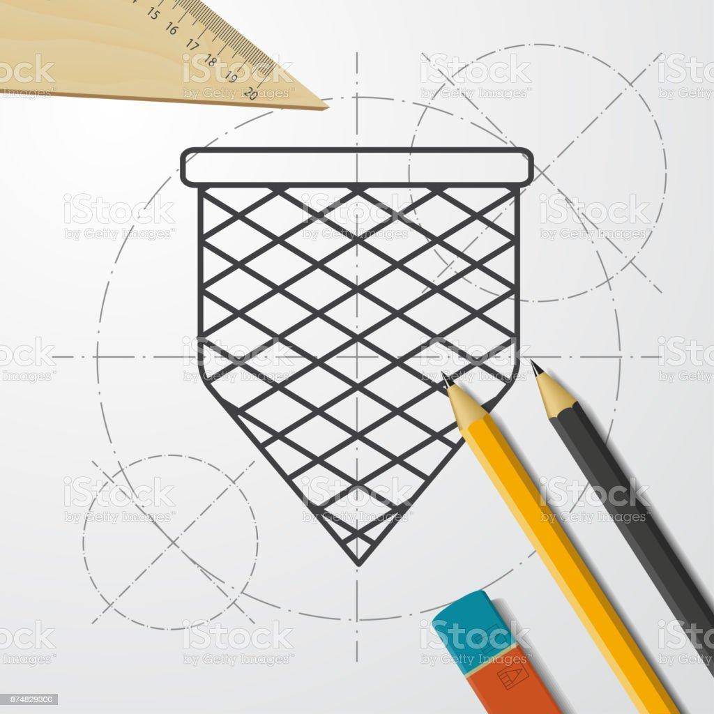 Blueprint style icon vector art illustration