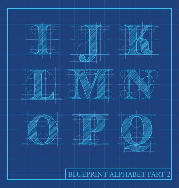 blueprint style letters font alphabet.Vector illustration vector art illustration