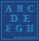 blueprint style letters font alphabet. letters a,b,c,d,e,f,g,h. Vector illustration
