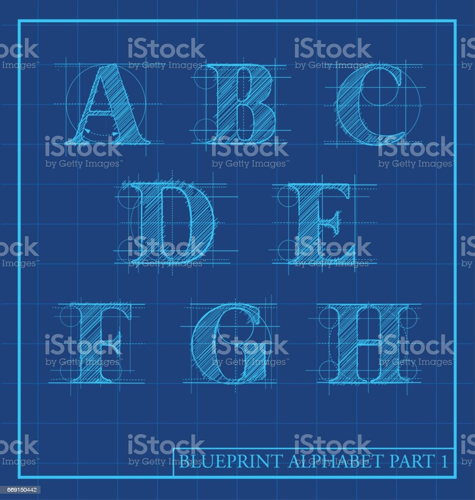 blueprint style letters font alphabet.Vector illustration vector art illustration