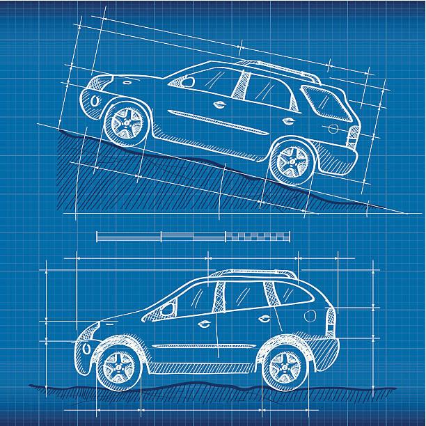 Royalty free car blueprint clip art vector images illustrations blueprint suvs vector art illustration malvernweather Gallery