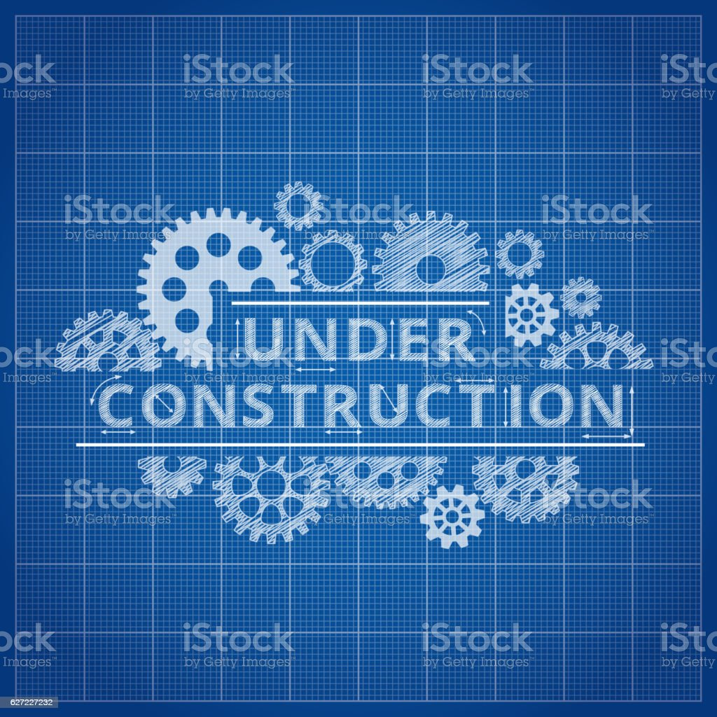 Blueprint Website Backdrop. Under Construction Blue Print Background  Royalty Free Blueprint Website Backdrop Under