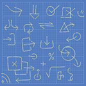 Vector illustration of a blueprint with arrow symbols and design elements