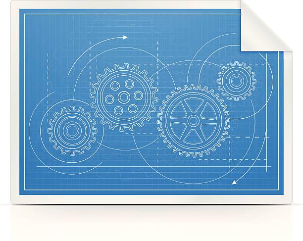 blueprint mit getriebe - maschinenteil ausrüstung und geräte stock-grafiken, -clipart, -cartoons und -symbole