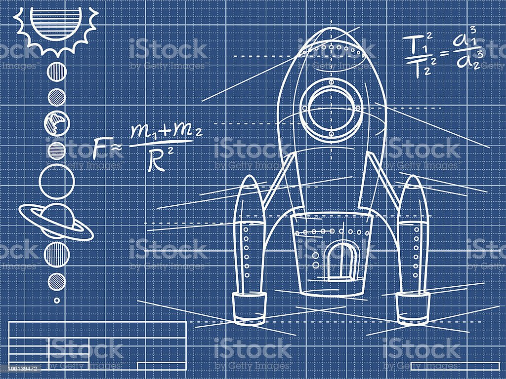 Blueprint with rocket ship and planets stock vector art more blueprint with rocket ship and planets royalty free blueprint with rocket ship and planets stock malvernweather Choice Image