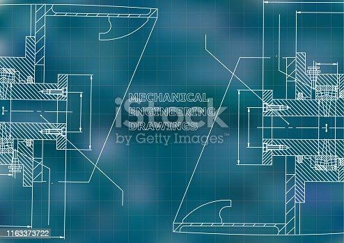 Blueprints. Mechanical drawings. Engineering illustration