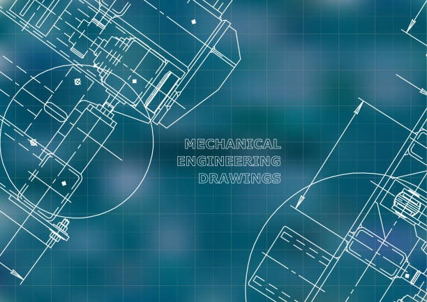 blaupausen. mechanik. cover. zeichnung von maschinenbau - ingenieur stock-grafiken, -clipart, -cartoons und -symbole