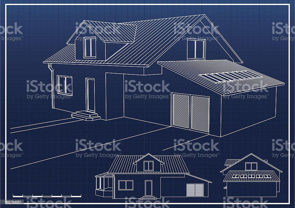 Blueprints Of A Potential House Stock Vector Art More Images Of