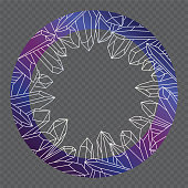 istock Blue-purple-pink round frame with white outlines of healing crystals. Isolated illustration. 1315466134