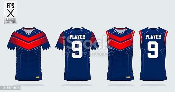 Blue-Red t-shirt sport design template for soccer jersey, football kit and tank top for basketball jersey. Sport uniform in front and back view. T shirt mock up for sport club.