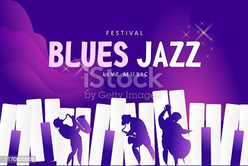 Vector jazz music festival banner, presentation party invitation template. Advertising line for website. Vector illustration