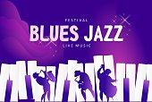 Vector jazz music festival banner, presentation party invitation template. Advertising line for website. Vector illustration
