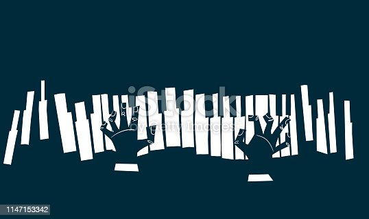 istock Blues - piano keyboard with hands 1147153342