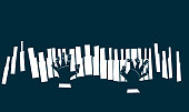 Abstract vector illustration of hands playing a piano keyboard