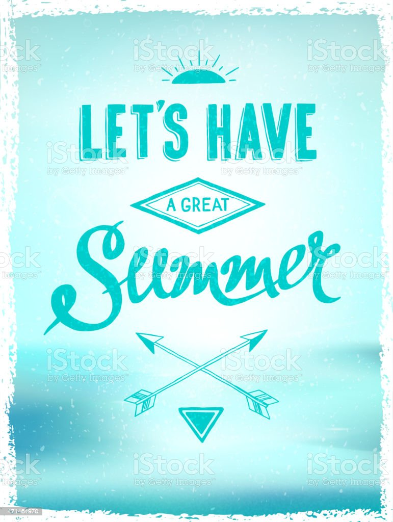 Bluetoned Summer Poster Template With Motivational Quote Stock