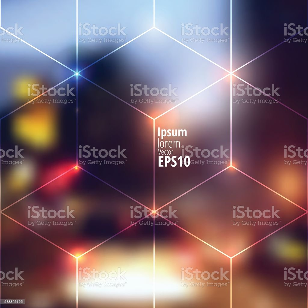 Blur lights city background vector art illustration