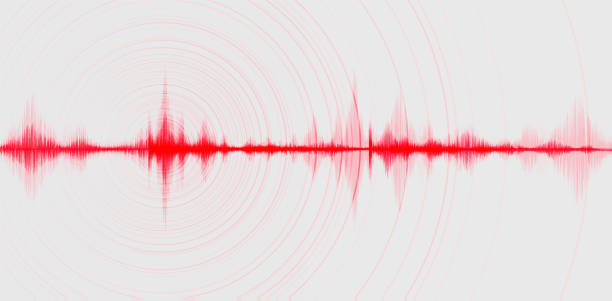 Blur Red Digital Sound Wave Low and Hight richter scale with Circle Vibration on white Background,technology and earthquake wave diagram and