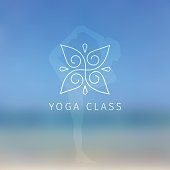 Vector illustration of Blured background with yoga logo