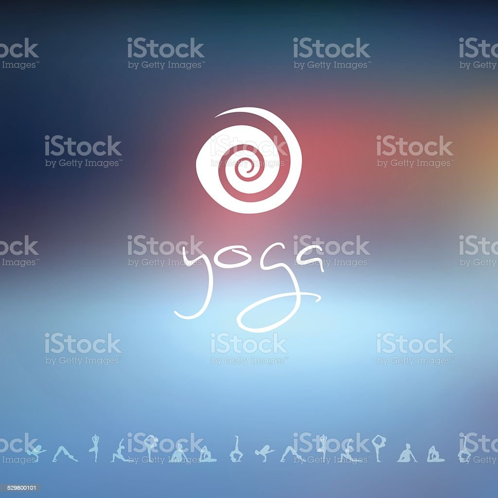 Blured background with yoga logo vector art illustration