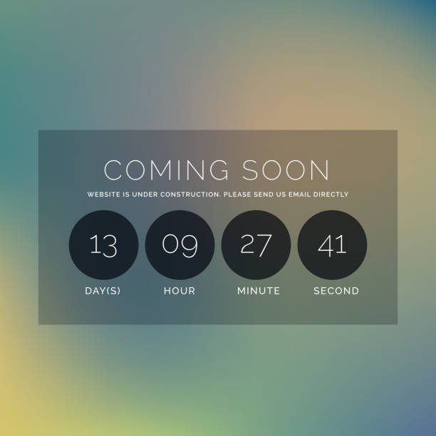 blurred background with coming soon text and countdown timer vector art illustration