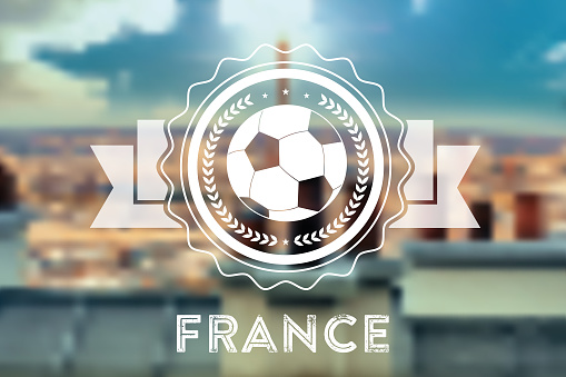 blurred background with france soccer ball line symbol