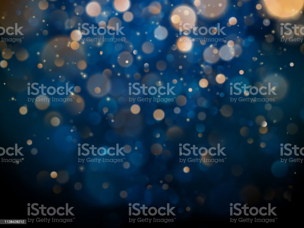 Blurred bokeh light on dark blue background. Christmas and New Year holidays template. Abstract glitter defocused blinking stars and sparks. EPS 10 - Векторная графика Абстрактный роялти-фри