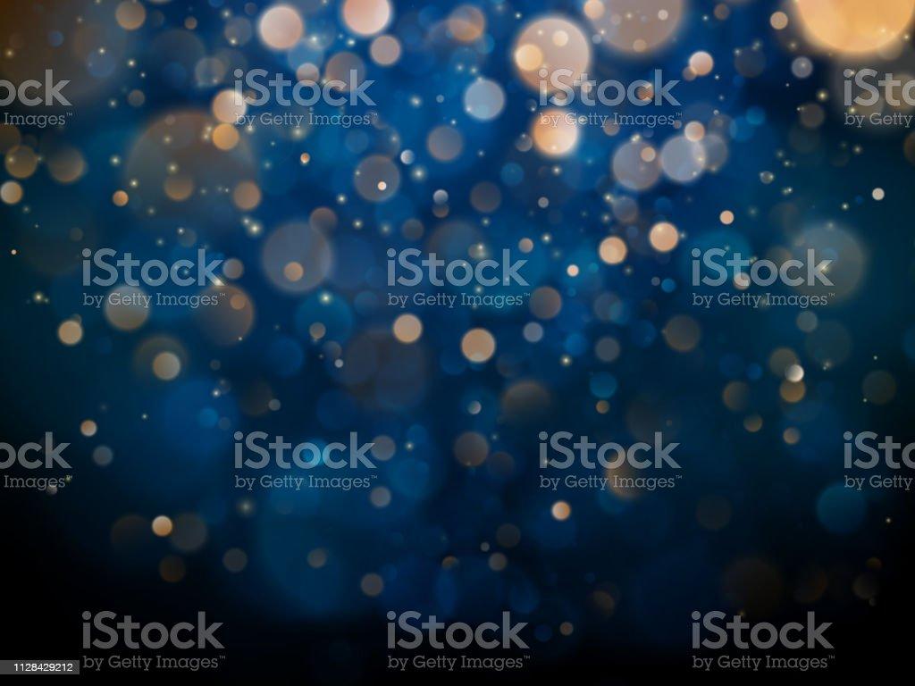 Bokeh turva luz sobre fundo azul escuro. Modelo de férias de Natal e ano novo. Brilho abstrato defocused piscando estrelas e faíscas. EPS 10 - Vetor de Abstrato royalty-free