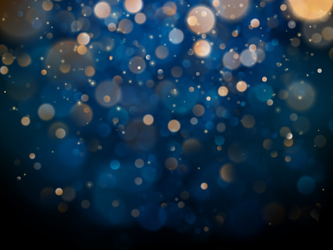 Blurred bokeh light on dark blue background. Christmas and New Year holidays template. Abstract glitter defocused blinking stars and sparks. EPS 10 clipart