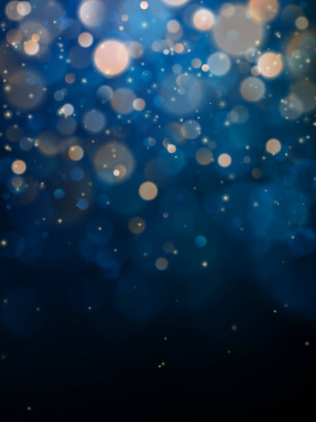 blurred bokeh light on dark blue background. christmas and new year holidays template. abstract glitter defocused blinking stars and sparks. eps 10 - bokeh stock illustrations