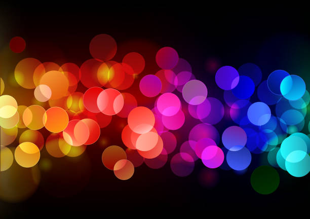 Blurred close up of colorful lights at night vector art illustration