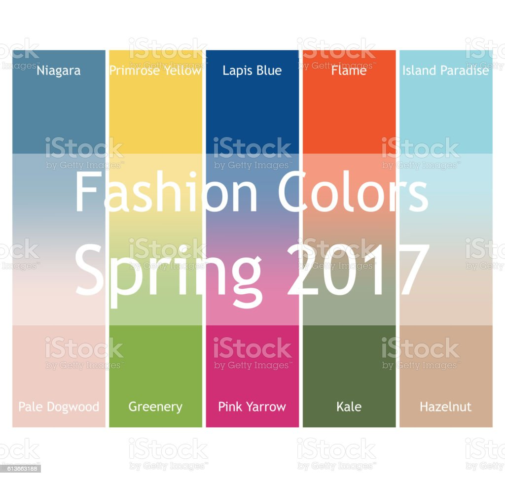 Blurred fashion infographic with trendy colors of the 2017 Spring. vector art illustration