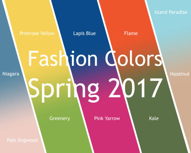 blurred fashion infographic with trendy colors of the 2017 spring. - spring fashion stock illustrations, clip art, cartoons, & icons